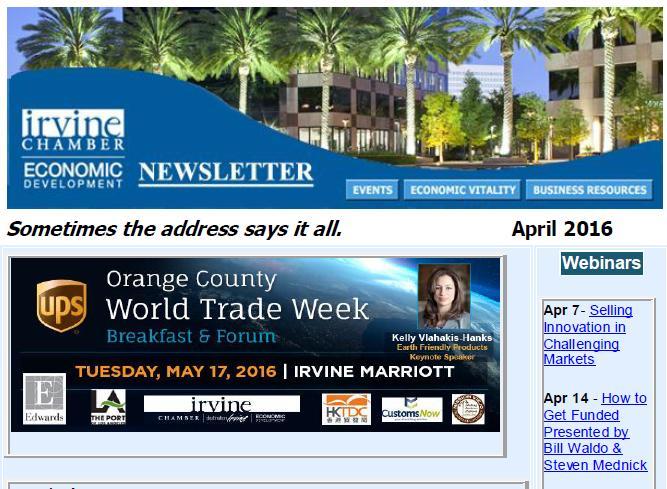 Irvine Chamber Economic Development Newsletter - April 2016