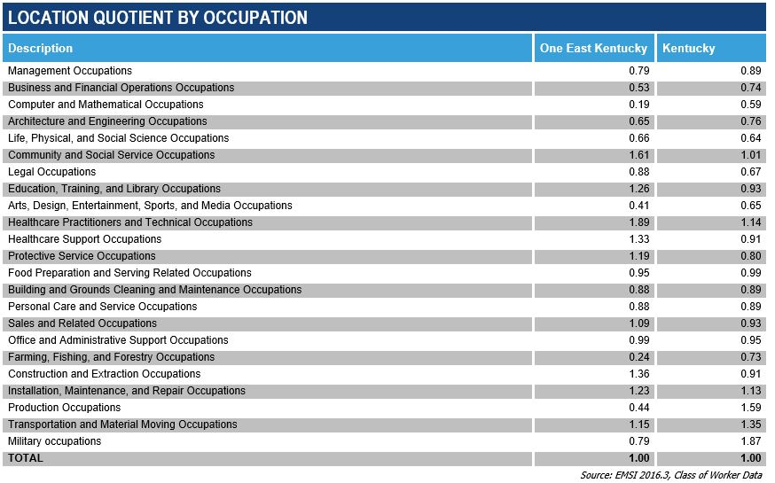 Location Quotient by Occupation