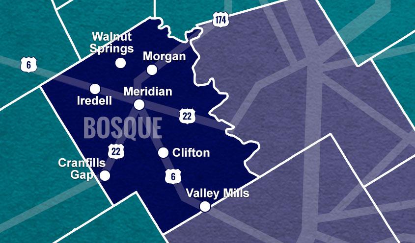 Bosque County, TX map