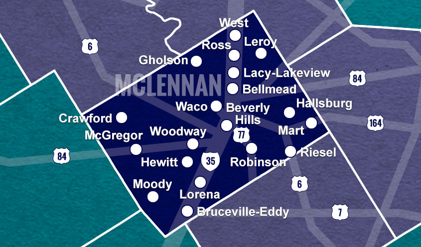 McLennan County, TX map
