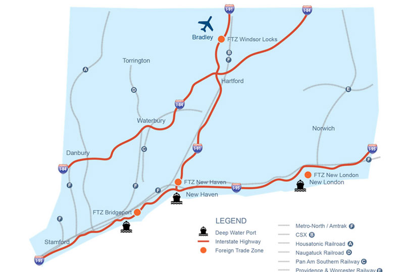 Transportation map of CT